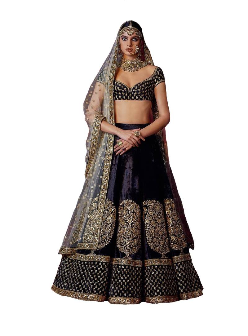 7a64c7ddc6 Black embroidered velvet unstitched wedding lehenga with blouse - HD ...