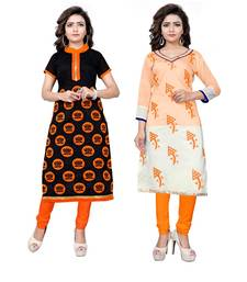 Buy Multicolor embroidered chanderi unstitched kurti combo-kurtis online