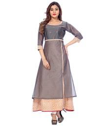 Buy Orange printed chanderi stitched kurti kurtas-and-kurtis online
