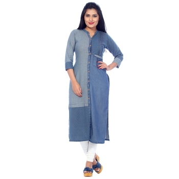 Blue printed cotton stitched kurti
