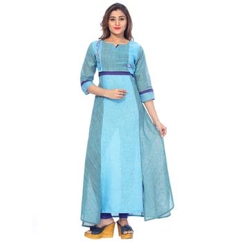 Sky blue embroidered cotton stitched kurti