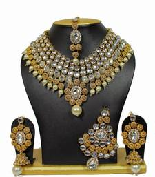 Buy One-Of-Its-Kind Necklace Set with Pearls in White women-ethnic-wear online