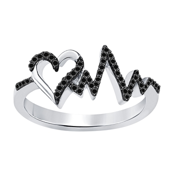 Lovely Heartbeat Engagement Wedding Ring 0.50 ct tw Created Black CZ Diamond .925 Sterling Silver