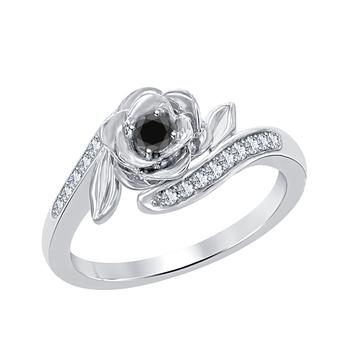 0.25ctw disney belles 925 silver black cz diamond and white cz fashion ring-flower ring