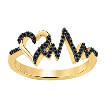 Lovely Heartbeat Engagement Wedding Ring 0.50 ct tw Created Black CZ Diamond 14k Yellow Gold Over .925 Sterling Silver