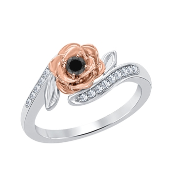 0.25 ctw disney belles 14k two tone gold over .925 silver created black cz diamond and white cz fashion ring-flower ring