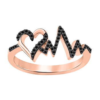 Lovely Heartbeat Engagement Wedding Ring 0.50 ct tw Created Black Diamond 14k Rose Gold Over .925 Sterling Silver
