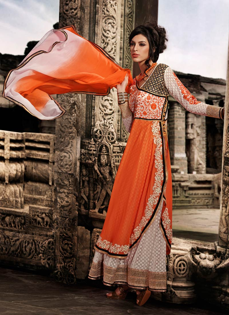 d4e1cfc4c8 Georgette Embroidered Orange and White colour Anarkali Suit - Online  Fashion Marts - 336803