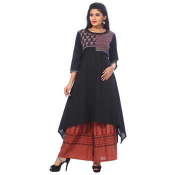 Black embroidered cotton stitched kurtis