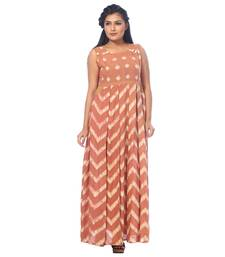 Brown printed cotton stitched kurtis