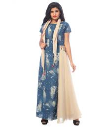 Blue printed cotton stitched kurtis