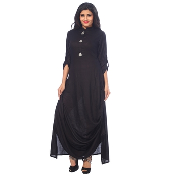 Black plain cotton kurtas-and-kurtis