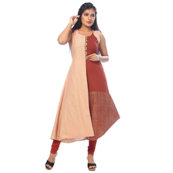 Peach embroidered cotton stitched kurtis