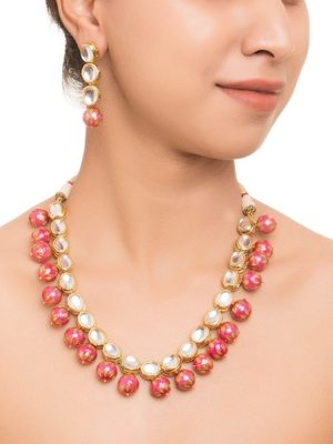 Pritisha Pink Meenakari  And Kundan Necklace Set