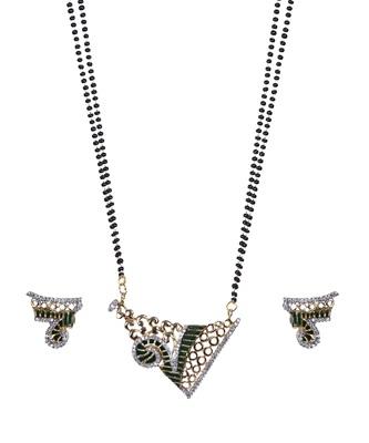 Green Black Gold American Diamond Designer Mangalsutra Set TMS236