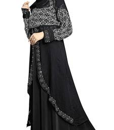 Buy Black Color Lycra Printed Burkha With Koti Style  and  Hijab Scarf women-ethnic-wear online