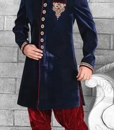 Buy Blue Velvet Zari Thread Zardosi sherwani jodhpuri-sherwani online