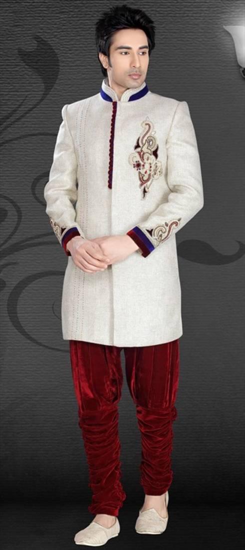 White Brocade Zari Thread Zardosi Pakistani Sherwani Style