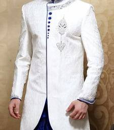 Buy White Brocade Zari Thread Zardosi sherwani indo-western-dress online