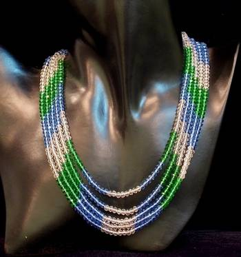 Beautiful and stylish five line crystal bead necklace