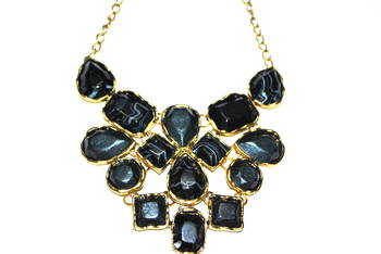 Black marble statement necklace
