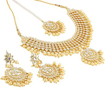 5b9439f94d1c7a Gold kundan Brass necklace-sets - Quail - 2499240