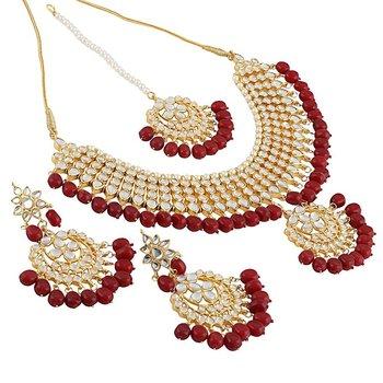 Gold kundan Brass necklace-sets
