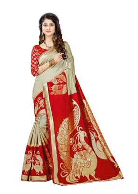 Red designer printed  saree with blouse