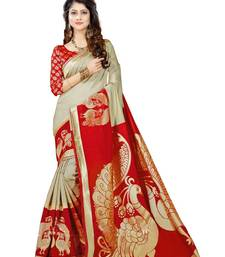 Buy Red designer printed  saree with blouse printed-saree online