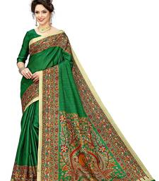 Green printed khadi saree with blouse