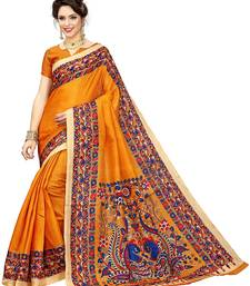 Buy Yellow printed khadi saree with blouse printed-saree online