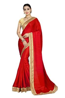 Red chiffon printed chiffon sarees