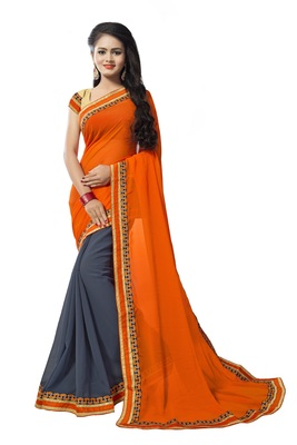 Orange georgette printed georgette sarees