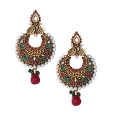 Buy Red green gold polki pearl drop chandbali style earrings te950 danglers-drop online