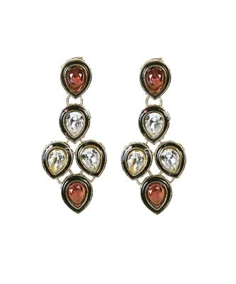 Brown gold silver stone studded kundan designer earrings te956