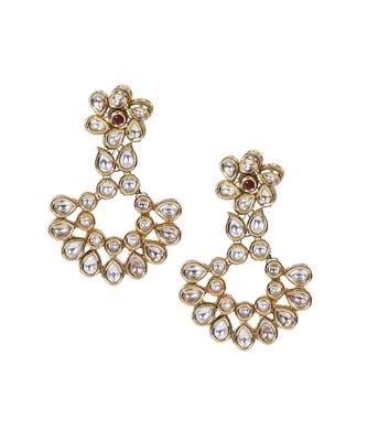 Gold maroon ethnic kundan floral chandbali style earrings te959