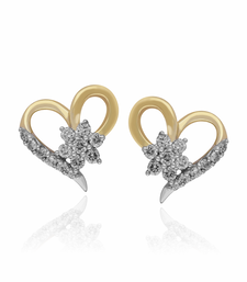Buy Valentine day 0.22cts Diamond heart shape earrings-18k yellow gold earrings -gift for love Earring online