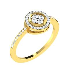Buy 0.36 Ct Diamond Halo Design Ring in 9KT Yellow Gold Ring online
