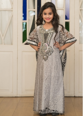 Gray Handmade Designer Kaftan For Girl