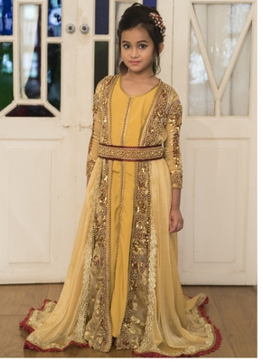 Beige and Golden Yellow Moroccan Style Kids kaftan