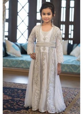 2f55d38a93b Designer Handmade White Arabic Moroccan Long Sleeve Caftan For Kids -  Kolkozy Fashion Private Limited - 2500540