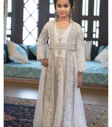 Designer Handmade White Arabic Moroccan Long Sleeve Kaftan For Kids