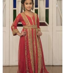 Red Moroccan Style Dress With Gold Handwork Kaftan kids-kaftan
