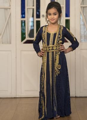 Blue Party Wear Full Sleeve Gold Beading Kaftan