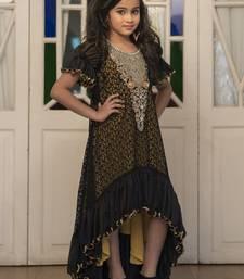 Buy Kids Black and Yellow Partywear Maxi Dress kids-kaftan online