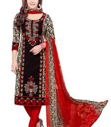 Black crepe printed unstitched salwar kameez with dupatta