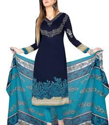 Blue crepe printed unstitched salwar kameez with dupatta