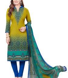Buy Multicolor crepe printed unstitched salwar kameez with dupatta dress-material online