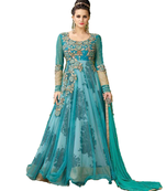 Buy sky blue embroidred net semi stitched salwar with dupatta