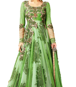 Buy green embroidred net semi stitched salwar with dupatta